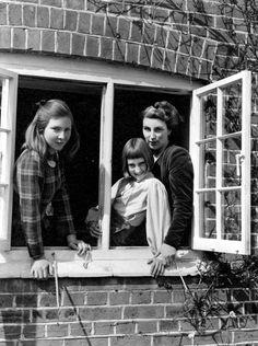 Rumer Godden with her daughters at Speen, Buckinghamshire, 1949