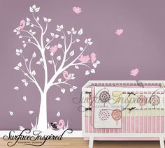 Nursery Tree Wall Decals - Baby garden tree wall decal for boys and girls nursery. Tree wall decal with flying birds.
