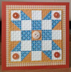 handmade Quilt Card by gobarb26 ... blue, white & rust ... luv the tiny print in the blue pieces ... embedded embossing adds texture and helps marry the pieces ...