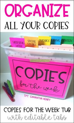 Organize all your teacher copies for the week in one spot! These tabs are for subjects or days of the week. You can edit the tabs as well! Stay organized all year long! From Samantha Henry Classroom Hacks, Classroom Organisation, Teacher Organization, Classroom Management, Organized Teacher, Classroom Decor, File Folder Organization, Classroom Libraries, Behavior Management