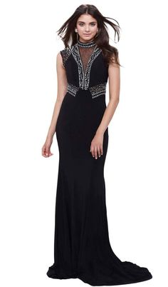 Mesmerize as you float into your prom or homecoming party when clothe in this ornate black number. The contoured sheath piece features a lovely high jewel illusion over a v-neckline, cap sleeves and a closed back. Elaborately sewn with a mix of beads, rhinestones and sequins in flourishes, this sleek wonder is highlighted with sheer and opaque panels on its bodice and back.   Clothe yourself in this luxurious jewel and crown any event with your striking presence. Dresses Elegant, Unique Prom Dresses, Black Prom Dresses, Dress Black, Illusion Dress, Long Evening Gowns, Mermaid Skirt, Floor Length Dresses, Formal Gowns