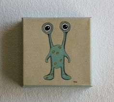 Small Canvas Painting 5x5 Alien Monster Art by TinaBlueShoes, $29.00