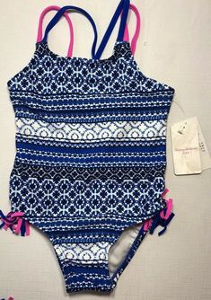 36c0c1f1323ae NWT Tommy Bahama Girls 4 Blue and White One Piece Swim Suit Pink Accent  Fringe #