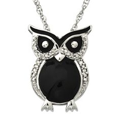 Black Enamel Owl Pendant in Sterling Silver with Diamond Accents - Necklaces - Gordon's Jewelers