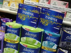A display on the University of California, Merced campus demands free tampons and other feminine hygiene products.