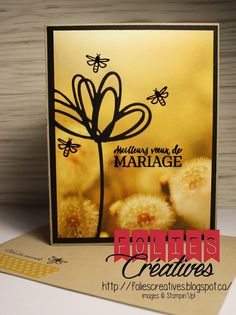 Sunshine Wishes Thinlits Dies and Serene Scenery Designer Series Paper Stack by Stampin'Up! Wedding card simple and clean by FoliesCréatives http://foliescreatives.blogspot.ca/
