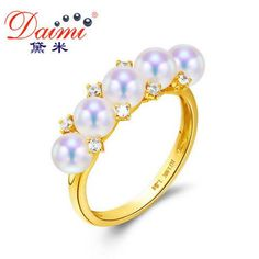 Wedding Ring Tiny Nature Sea Water Pearl Yellow gold Top Quality Rings Jewelry