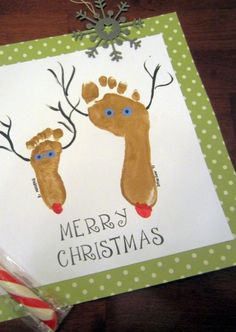 Create little Christmas Reindeer with the footprint of your little ones. It only took a few minutes to put it all together and the kids enjoyed it! Give it to the Grandparents as a Christmas gift, use it on a Christmas card, frame it or keep it as an annual keepsake.