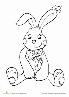 Easter Coloring Pages eBook: Simple Bunny Head Outline