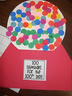 100 gum balls for the 100th day of school- celebrates the 100th day of school and improves counting by ones or tens skills!