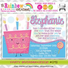 093 DIY Cute Cake Party Invitation Or Thank by LilRbwKreations