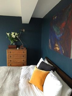 An inspirational image from farrow and ball farrow ball, farrow and ball paint, blue Farrow Ball, Farrow And Ball Paint, Dark Blue Bedroom Walls, Bedroom Colors, Bedroom Decor, Bedroom Ideas, Master Bedroom, Dark Rooms, Dark Walls
