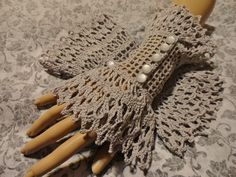 Gray Victorian Steampunk Crochet Lace Wrist Cuffs