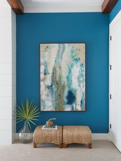 True blue, entryway, Amanda Webster Design, interior design, interior decor, painting, wicker, stools