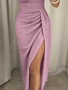 Women Off Shoulder Glitter Party Dress 2018 High Slit Peplum Dresses Autumn Elegant Women's Bodycon Dress Vestidos Slit Dress, Bodycon Dress, Peplum Dresses, Ruched Dress, Mode Inspiration, Dress Brands, Designer Dresses, Thighs, Evening Dresses