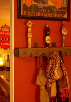Beer tap handle coat rack made from antique salvaged wood. Awesome gift idea ...