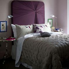 mit lilanem Stoff bezogene Spanplatte-Ideen für Bettkopfteil