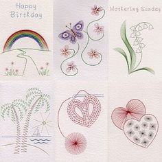 Singles Collection 5: Rainbow in Value Packs patterns at Stitching Cards - ePatterns for paper embroidery: