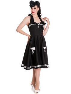 c3f6f6de12f40a Hell Bunny Motley Pinup Sailor Vintage Halter Sailor Swing Dress –  Skelapparel, Pin-up sailor black halter dress, Hell Bunny sailor dress,  Black sailor ...