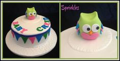 Owl baby and bunting baby shower cake. Chocolate mud cake with dark chocolate ganache. Hand molded and edible baby owl :)