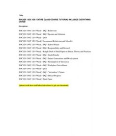 SOC120 / SOC 120 / ENTIRE CLASS/COURSE TUTORIAL INCLUDES EVERYTHING LISTED