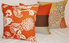OUTDOOR Pillow Trio Orange Brown Bird Mum Stripe Pillow Cover Set Cushion Covers Porch Decorative Pillows. $52.00, via Etsy.