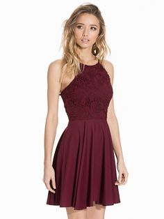 a7ca73b0207c Nelly.com  Crochet 2in1 Skater Dress - New Look - women - Burgundy.
