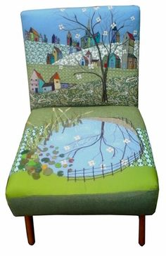 Chairs | rustique Painted Chairs, Hand Painted Furniture, Funky Furniture, Furniture Upholstery, Upcycled Furniture, Upholstered Chairs, Furniture Makeover, Furniture Ideas, Patchwork Chair