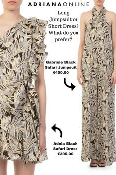 Gabriele Black Safari Jumpsuit or Adela Black Safari Dress? What is your choice for this summer? Safari Dress, Long Jumpsuits, Luxury Fashion, Short Dresses, Summer, Shopping, Black, Design, Style