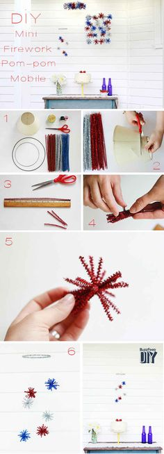 Mini Firework Pompom Mobile – of July – Grandcrafter – DIY Christmas Ideas ♥ Homes Decoration Ideas July Crafts, Summer Crafts, Holiday Crafts, Holiday Fun, Crafts For Kids, Diy Christmas, 4th Of July Celebration, 4th Of July Party, Fourth Of July