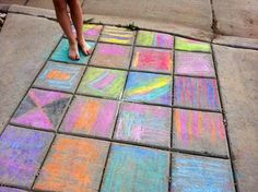 Coloured chalk on the driveway or patio pavers are a frugal and fun idea and can be just washed clean afterwards.