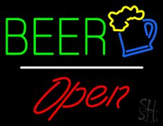 Beer Logo Open White Line Neon Sign 24 Tall x 31 Wide x 3 Deep, is 100% Handcrafted with Real Glass Tube Neon Sign. !!! Made in USA !!!  Colors on the sign are Green, Yellow, Blue, White and Red. Beer Logo Open White Line Neon Sign is high impact, eye catching, real glass tube neon sign. This characteristic glow can attract customers like nothing else, virtually burning your identity into the minds of potential and future customers.