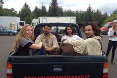 The Musketeers on set, series II - Jessica Pope, Howard Charles, Luke Pasqualino & Santiago Cabrera.