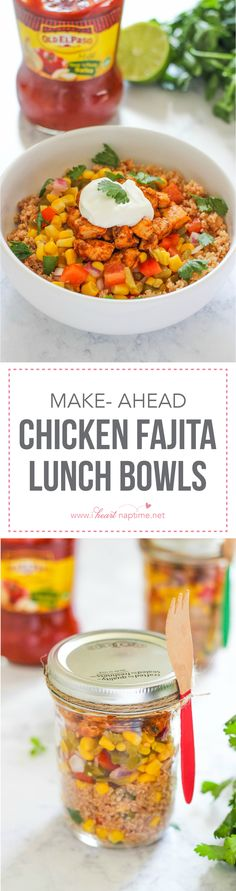 Make-Ahead Chicken Fajita Lunch Bowls are an easy and healthy recipe for weekday lunches away from home. @oldelpaso #freshestbloggers #partner