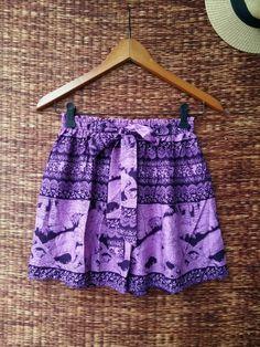 Purple Boho Shorts Elephants print Cotton by TribalSpiritShop