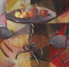 A wrought iron patio table and chairs support a cubist still life of fruit, a ceramic pot and a glass of wine.