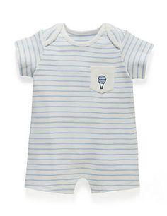 Blue Mix Pure Cotton Striped Romper (0-12 months)