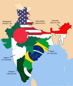 Meanwhile, this rough map illustrates that the population of India is as high as the next six most populated countries of the world. 16 Fascinating Maps That'll Change Your Perception Of India Geography Map, World Geography, Human Geography, 2pac, Population Of India, Upsc Civil Services, India Map, India India, History Of India