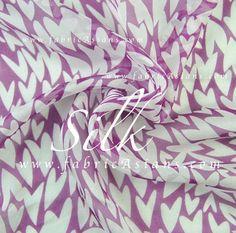Heart Fabric Purple Silk Chiffon by fabricAsians