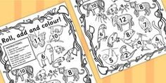 Jungle Themed Roll And Colour Worksheet - jungle, colour, game