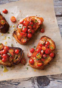 Simple but delicious. Cherry tomato bruschetta.