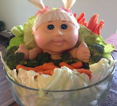 Cabbage Patch veggie display for gender reveal/baby shower!!!