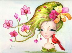 """Available Original Painting """"Exotic Flowers""""Watercolor on paper.Size: 9.5 x 12.7inches (24cm x 32cm)"""