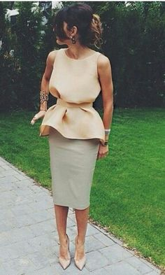 cream peplum top and grey pencil skirt Classy Elegant Chic Outfit @dubaistreetstyle