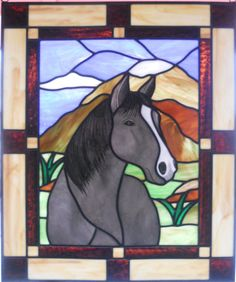 Horse Stained Glass Panel by epstainedglass on Etsy, $395.00