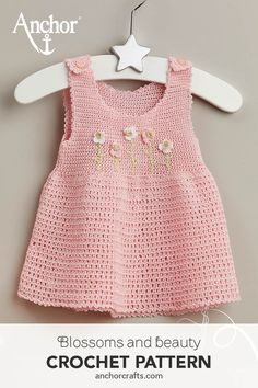 Diy Crafts - dress,flowers-Lovely light pink crochet dress with sweet appliquéd flowers, perfect for a day outside! Crochet Toddler Dress, Crochet Baby Dress Pattern, Baby Dress Patterns, Crochet Baby Clothes, Baby Girl Crochet, Baby Knitting Patterns, Crochet For Kids, Clothes Patterns, Baby Dress Tutorials