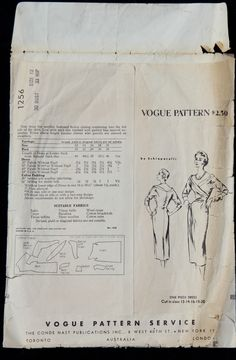 """Vogue Paris Original Wiggle Dress 1256 Pattern by Schiaparelli (back of env)  """"Slim dress has surplice buttoned bodice closing continuing into the left side of the skirt.  Low wide neck-line finished with padded bias tapered extension.  Below elbow length kimono sleeves with gussets are seamed on shoulders""""."""