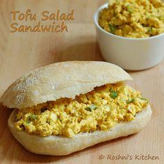 Roshni's Kitchen: Tofu Salad Sandwich - Egg Salad - Vegan Recipe. No cooking, just chop tofu, add yogurt, spices and scallion.