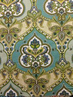 Modern Moroccan Damask Lilly Pad Damask Fabric от ShopMyFabrics