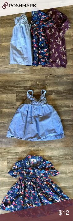 Girl's 4T Dress Bundle Adorable girls 4T dress bundle! Includes chambray sleeveless dress with tie back, Old Navy blue floral short sleeve dress, and Land's End purple floral knit dress with long sleeves. Bundle 2+ items and save 20%! Old Navy Dresses Casual